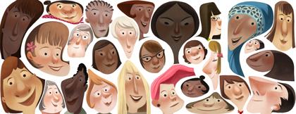 Doodle dedicato da google alla Giornata Interrnazionale della Donna 2013 per celebrare le donne di qualsiasi età di tutto il mondo